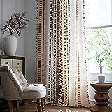 CoutureBridal Cortinas bohemias translúcidas de algodón con aspecto de lino...