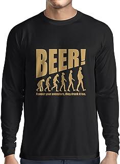 Camiseta de Manga Larga para Hombre The Beervolution - Ideas Divertidas únicas sarcásticas del Regalo para los Amantes de la Cerveza, evolución de consumición (XX-Large Negro Oro)