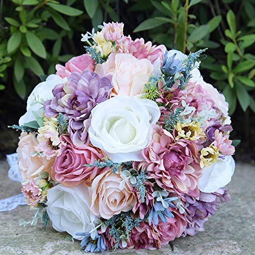 Abbie Home Bride Bouquet - 10 inches Artificial Roses Daisy Dahila in Dusty Pink Lavender White - Wedding Bridal Flower
