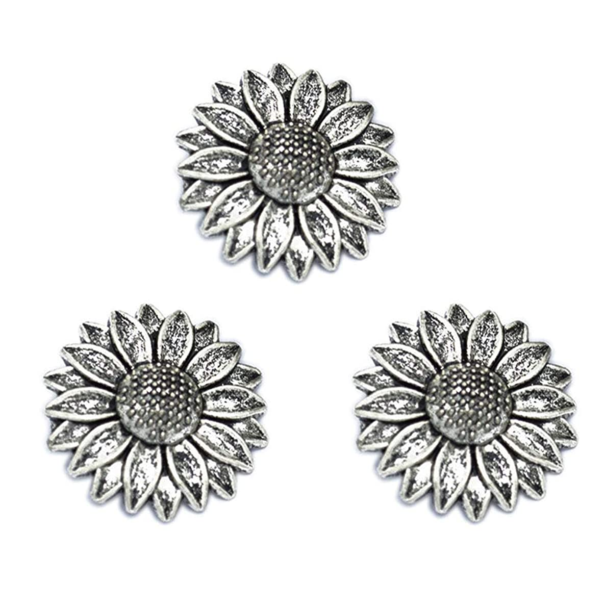 10pcs Vintage Antique Silver Alloy Sunflower Charms Pendant Jewelry Findings for Jewelry Making Necklace Bracelet DIY 39x39mm (10pcs Silver)