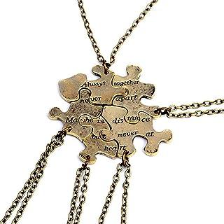 5 Pcs Vintage Best Friends Necklace Antique Brass Puzzle Pendant Set for Friends BFF Friendship Necklace