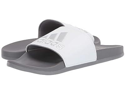 adidas Adilette Cloudfoam Plus Logo Slides (Footwear White/Silver Metallic/Grey Three F17 1) Men