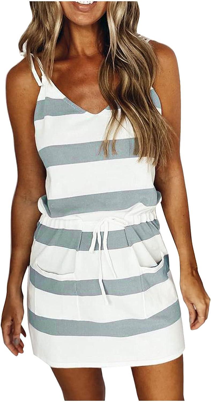 Mnyycxen Women's V-Neck Striped Print Backless Shirt Dress Adjustable Spaghetti Strap Drawstring with Pocket Mini Dress