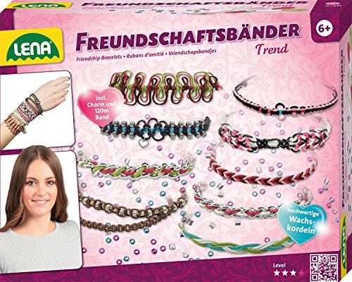 Lena 42692 Bastelset Freundschaftsbänder knüpfen Trend mit 120 m Wachskordeln in 7 Farben