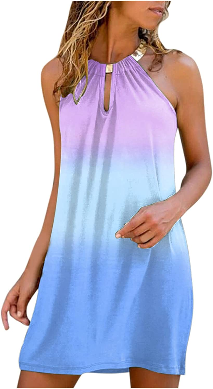 Oiumov Summer Dresses for Women Sexy Sleeveless Boho Halter Mini Dress Casual Beach Cover Up Dress Party Cami Tank Dress