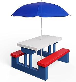 Deuba Salon de Jardin pour Enfants Table et bancs Ensemble de Jardin Bords arrondis avec Parasol Jeux Enfants intérieur ex...