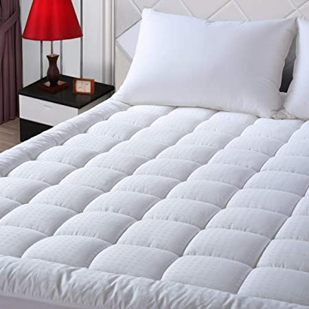 """EASELAND Queen Size Mattress Pad Pillow Top Mattress Cover Quilted Fitted Mattress Protector Cotton Top 8-21"""" Deep Pocket Cooling Mattress Topper (60x80 Inches, White)"""