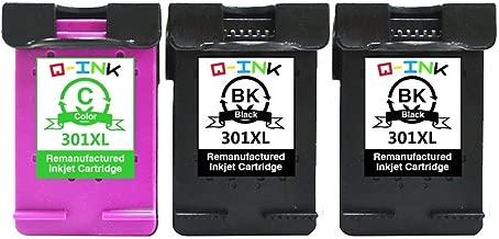 QINK 3PK Remanufacturados para 301XL 301 XL Cartucho de Tinta CH563EE CH564EE para Deskjet 3050 2050 3055A 1050A, Envy 5534 4508 5536 4507, Officejet 2620 4636 (2BK+1C)