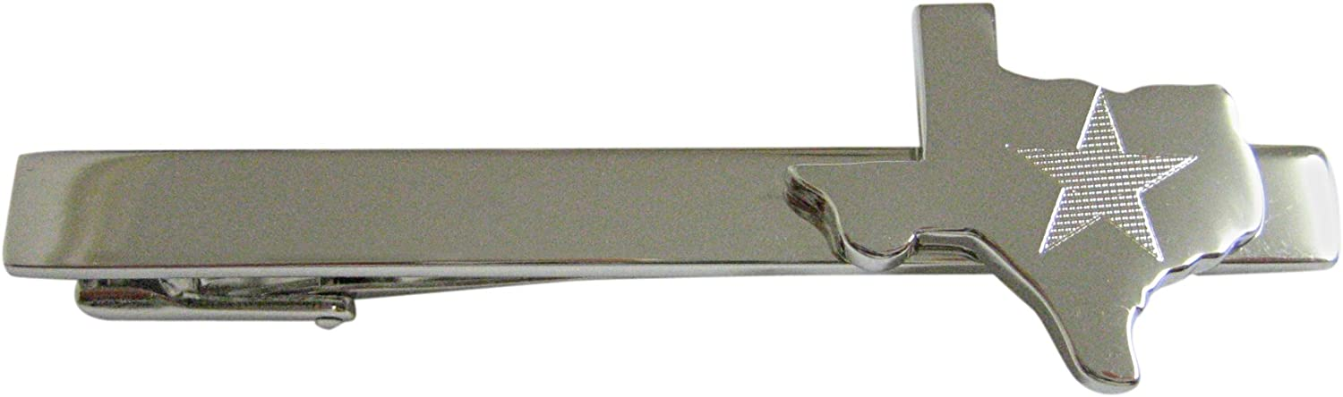 Texas State Map Shape and Flag Design Square Tie Clip