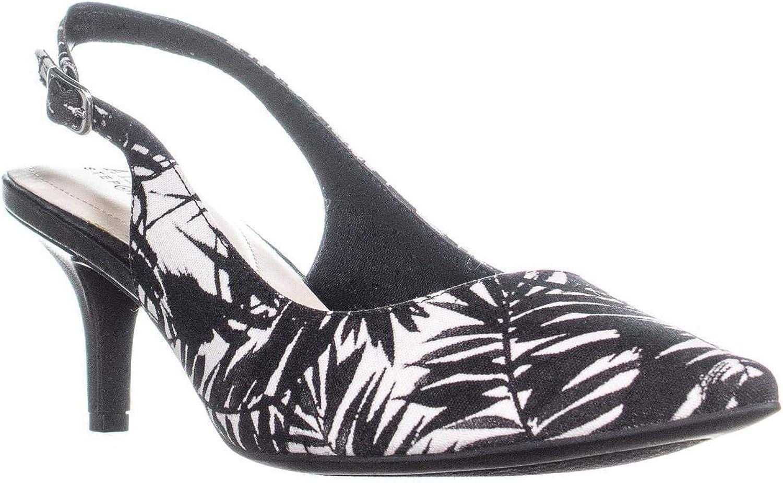 A35 Babbsy Slingback Kitten Pointed-Toe Heels, Black White