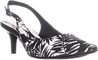 A35 Babbsy Slingback Kitten Pointed-Toe Heels, Black/White, 7.5 W US