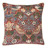 Red Floral William Morris Cushion Cover by Signare | Designer Decorative Sofa Couch Pillow | 45x45 cm | Strawberry Thief (CCOV-STRD)