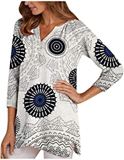 ★ Futurelove ★ Plus Size Tops - Three Quarter Sleeve Printed Tops for Women V Neck Shirt Printed Tops Loose Blouse S-5XL