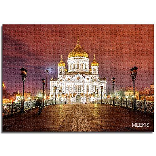 ABUKJM 300 PuzzleteileGoldene Kuppeln der Kathedrale Christi des Erlösers im Nachtlicht, Moskau, Russland Lernspiele, Puzzle für Kinder