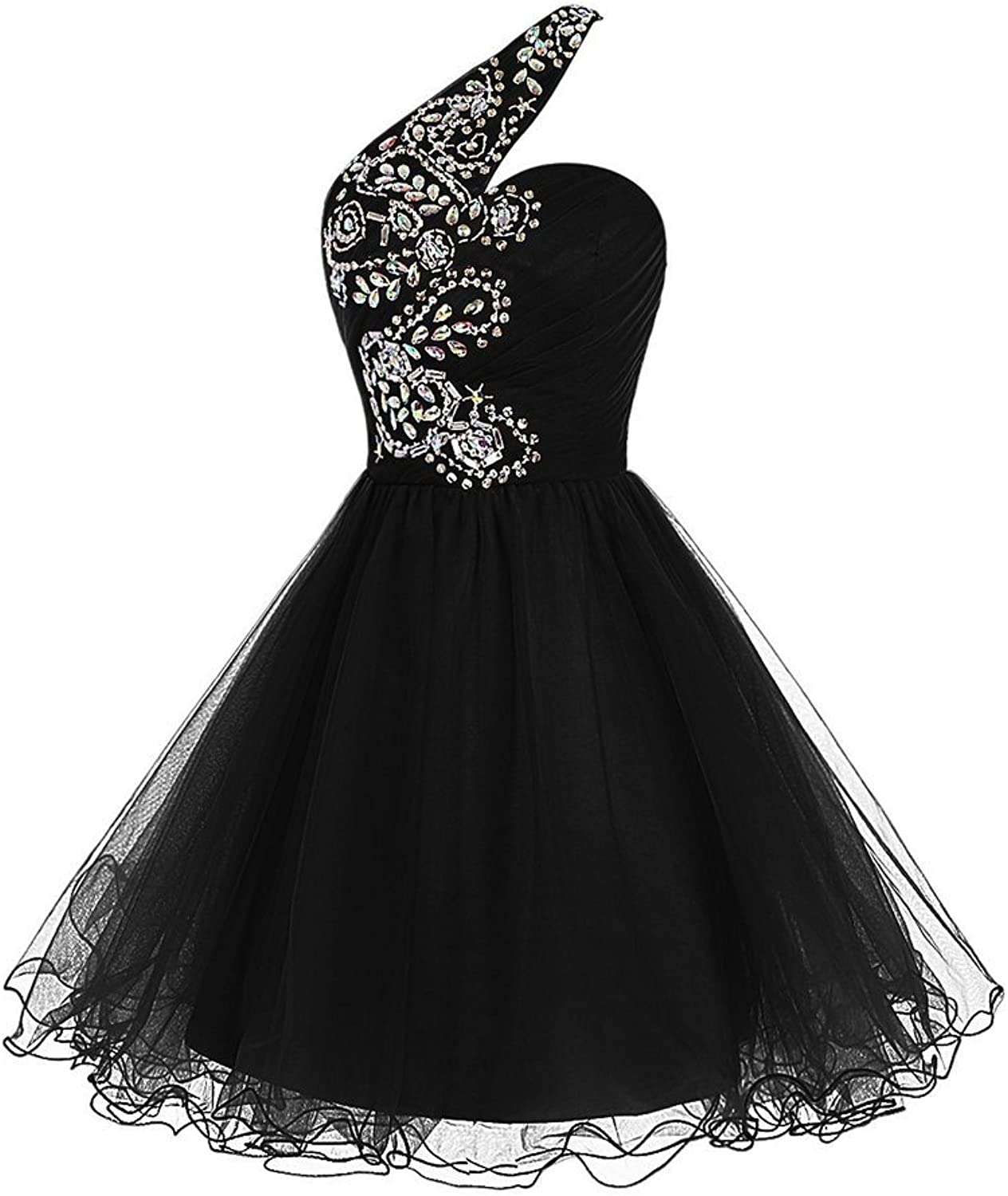 SDRESS Women's Beaded Sequines one Shoulder Tulle Ball Gown Homecoming Dress