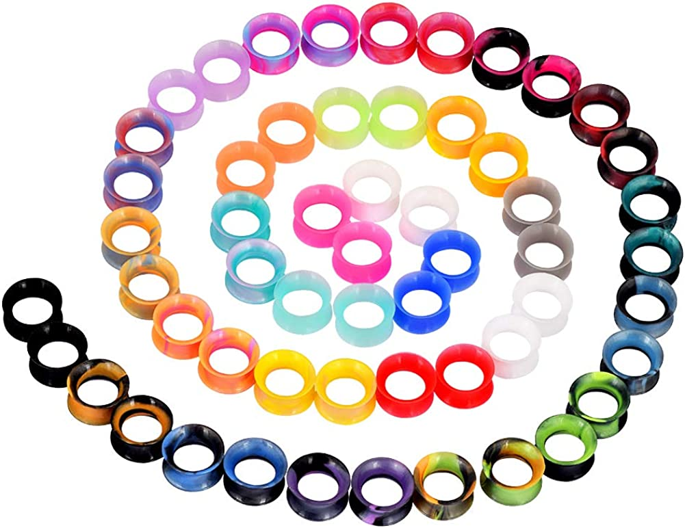 YOFANST 24pcs-100pcs Colorful Silicone Ear Gauges Double Flared Ear Tunnels Set Stretchers Expander Ear Piercing Jewelry