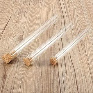 Vasos de laboratorio Tubo de ensayo de vidrio de laboratorio de 20 ml / 35 ml / 50 ml 10 piezas con tapón de corcho para laboratorio, experimento, química, estudios de la ciencia e