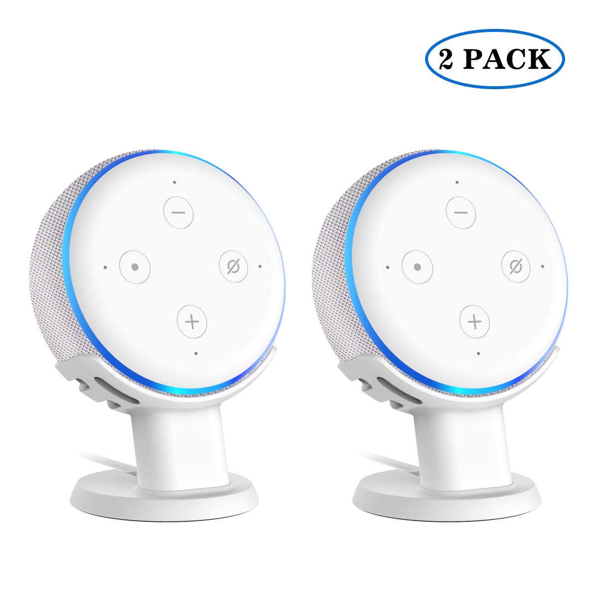 white-2pack SPORTLINK Table Stand for Echo Improves Sound Audibility and Appearance A Must Have Mount Holder Stand for Ehco