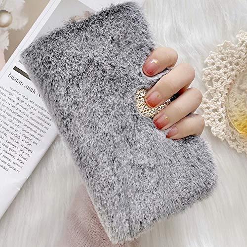 Miagon Plüsch Hülle für Samsung Galaxy A50,Flip PU Leder Hülle mit Diamant Buckle Kartenfächern Stand Warmer Winter Pelzig Brieftasche Schutzhülle,Grau
