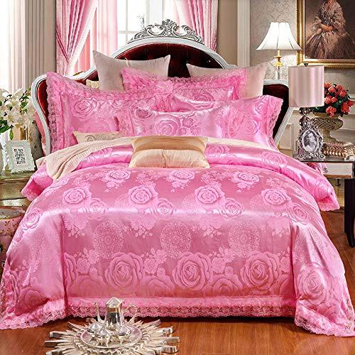 geek cook Four-piece bed,Tencel Modal Satin jacquard cotton four-piece suit Wedding four-piece suit-Light pink_2m bed quilt 220 * 240