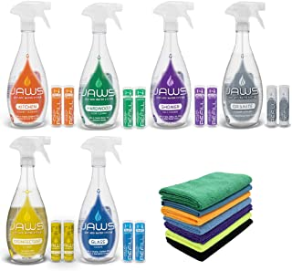 JAWS Ultimate Cleaning Kit | Kitchen, Glass, Shower, Granite, Hardwood and Disinfectant | 2 Refill Pods of Each & Microfib...