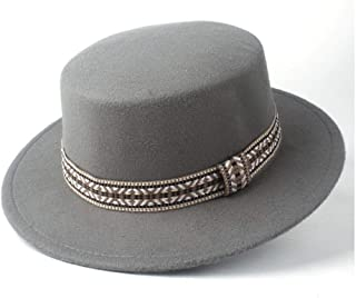 PengCheng Pang New Men Women Fashion Flat Top Hat Winter Wide Brim Hat Wool Trilby Fedora Hat Panama Hat Size 56-58CM (Color : Gray, Size : 56-58)