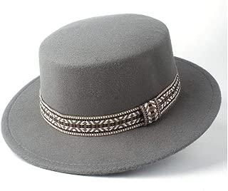 Pork Pie Hat Fedora Trilby Fashion Flat Top Hat Men Women Winter Wide Brim Hat Wool Trilby Fedora Hat Panama Hat Size 56-58CM (Color : Gray, Size : 56-58)