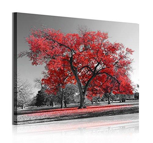 DekoArte 324 - Cuadros Modernos Impresión de Imagen Artística Digitalizada | Lienzo Decorativo para Tu Salón o Dormitorio | Estilo Paisaje Árboles Rojos Naturaleza | 1 Pieza 120 x 80 cm