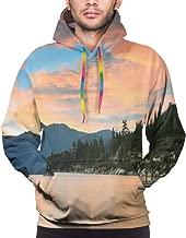 Men's Hoodies Sweatershirt,Romantic Sunset at Lake Tahoe Peaceful Shoreline Sierra Nevada United States,
