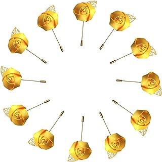 WeddingBobDIY 12Pieces/lot Groom Boutonniere Wedding Silk Rose(3.5cm) Flowers Accessories Prom Pin Man Suit Decoration Gold