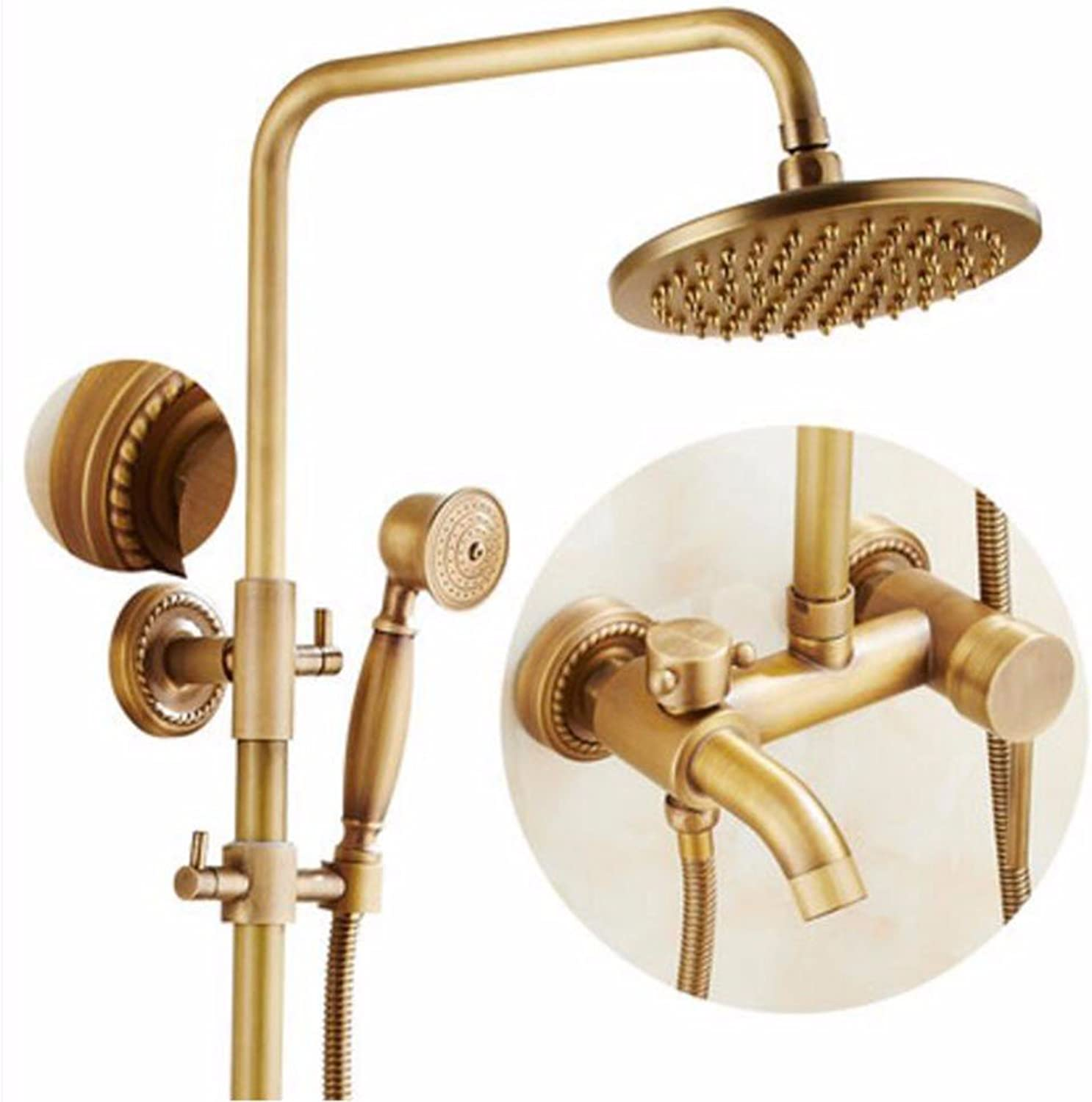 Shower set Antique Shower Shower Set Shower Nozzle European Style All Copper Shower Shower Retro Shower Hot And Cold Faucet,B
