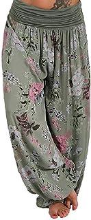 Jmwss QD Women Wide Leg Floral Print High Waist Baggy Classic Harem Pant White US 4X-Large
