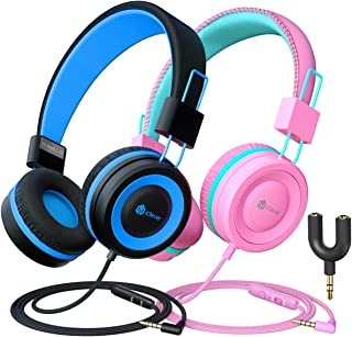 iClever Kids Headphones 2 Pack - Wired Headphones for Kids with MIC, Volume Control Adjustable Headband, Foldable - on Ear...