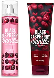 Bath and Body Works - Black Raspberry Vanilla - Fine Fragrance Mist and Ultra Shea Body Cream - Full Size - 2019