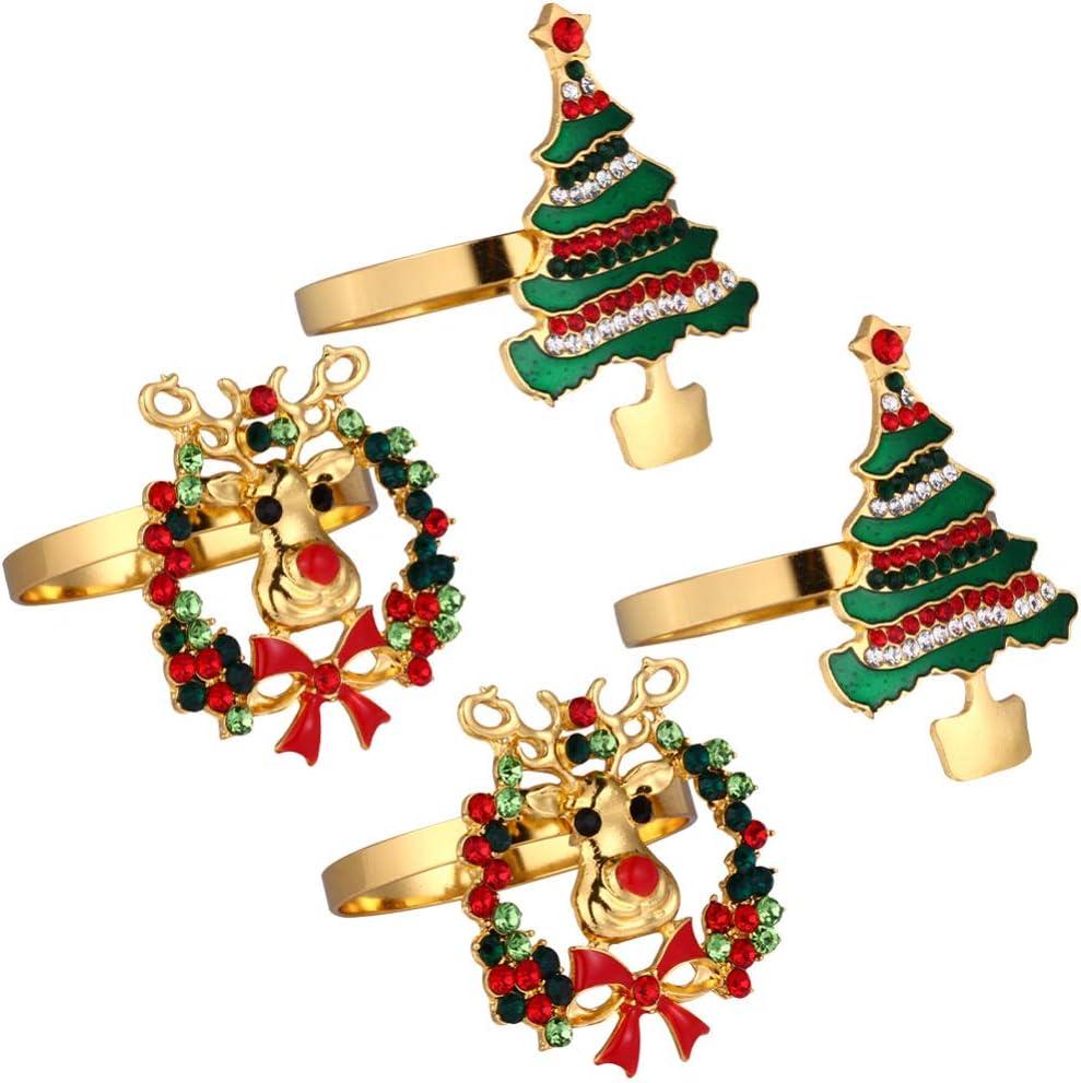 DOITOOL Finally popular brand 4pcs Christmas Max 88% OFF Rings Tree Napkin