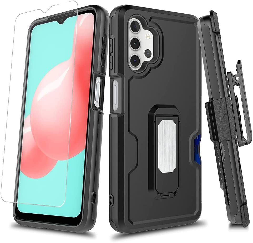 Eclipse Legend Cases for Samsung Galaxy A32 5G with Tempered Glass Screen Protector and Kickstand Belt Clip Holster Support Magnetic Car Mount Case (Black)