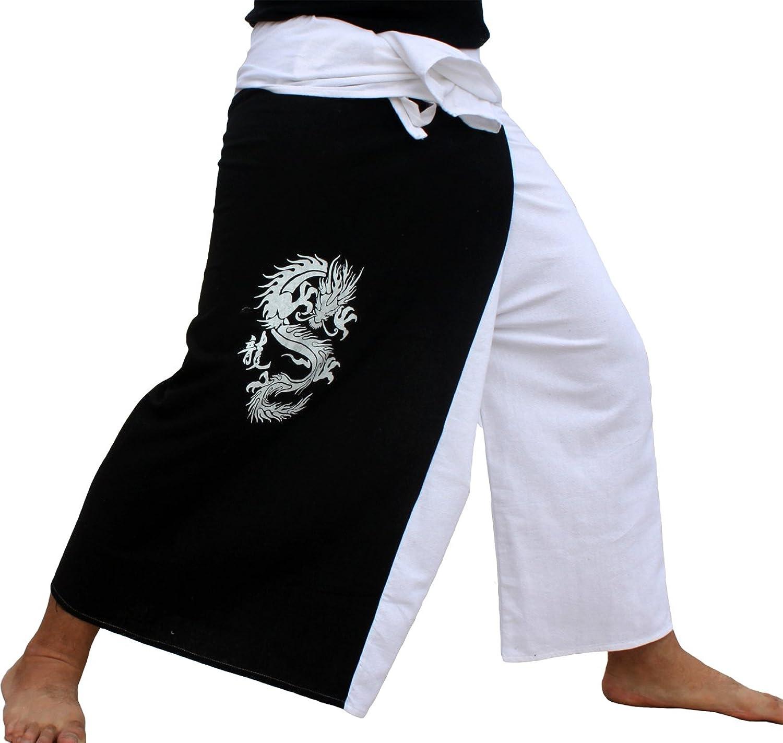 Raan Pah Muang RaanPahMuang Thick Cotton Two color Fire Dragon Samurai Wrap Pants
