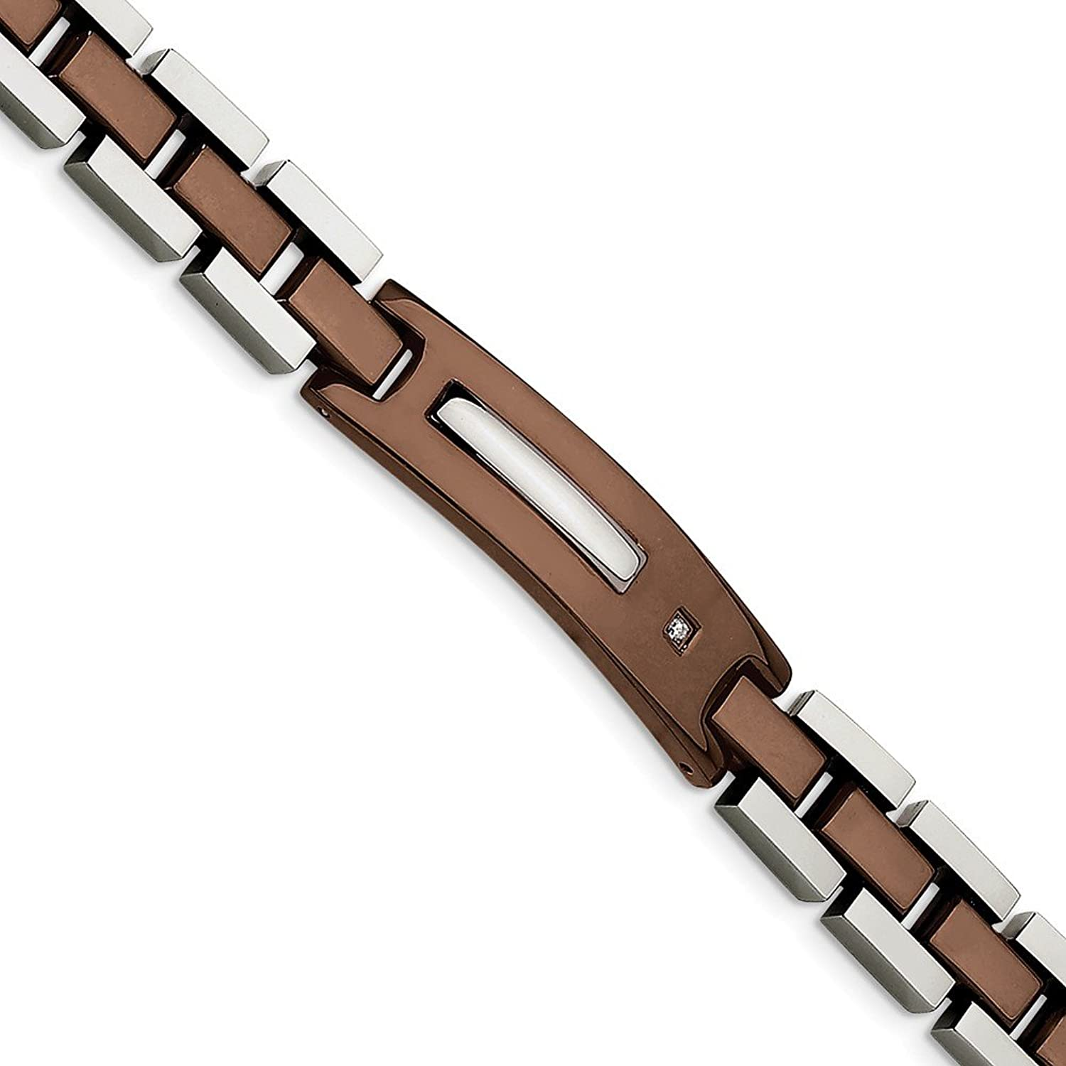 Beautiful Stainless Steel Brown IPPlated w Diamond 8.5in Bracelet