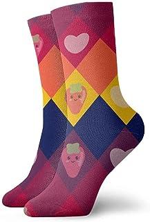 N\A, Calcetines de compresión antideslizantes de aguacate de dibujos animados Love Calcetines deportivos acogedores de 11,8 pulgadas para hombres, mujeres y niños