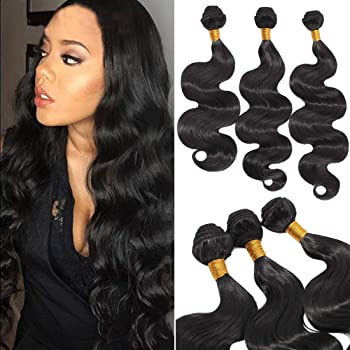 SEGO Synthetic Hair Bundles Sew in Hair Extensions Body Wave Wavy Soft as Human Hair Weave Hair Weft Extensions for Women #1B Natural Black 3 Bundle 16 18 20 Inch 210g