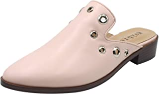 MAYPIE Women Studded Block Mules Pointed Toe Slides Loafer Slip on Backless Low Heels