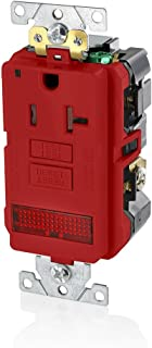 Leviton GFPL2-PLR 20A-125V Extra-Heavy Duty Industrial Grade Pilot Light Tamper-Resistant Self-Test GFCI Receptacle, Red, 20-Amp