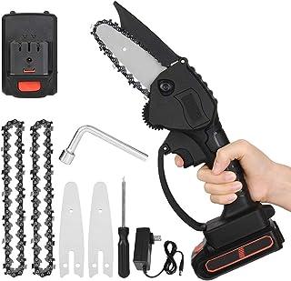 Bcamelys Mini Motosierra inalámbrica de Mano con Cargador y 2 baterías, Sierra De Podar eléctrica portátil inalámbrica de 4 Pulgadas y 24 V, Velocidad de Corte Ajustable, para cortar de madera