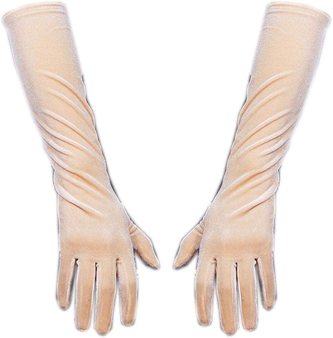 Velvet Gloves Opera Elbow Long Stretchy Golden Nude Tan Touchscreen Sensitive