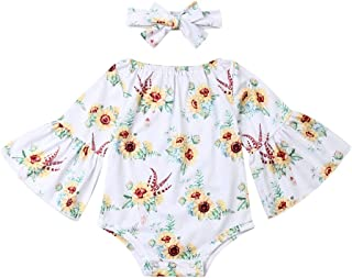 Newborn Baby Girl Floral Bodysuit+Headnband 2pcs Summer Flare Sleeve Fashion Jumpsuit 0-24Months - Green - 12-18 Months