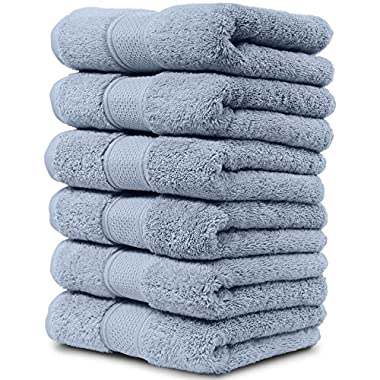 Maura 6 Piece Hand Towels Set. Extra Large 16 x30  Premium Turkish Towels. Thick, Soft, Plush and Highly Absorbent Luxury Hotel & Spa Quality Towels - Serenity Blue