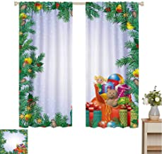 hengshu New Year Black Out Curtains for Bedroom Childrens Toys Composition Inside a Bag of Santa Teddy Bear Ball Ornate Boxes Home Decor Sliding Door Curtains W100 x L63 Inch Multicolor