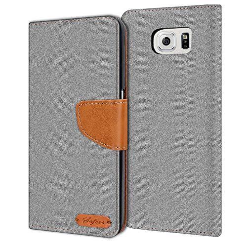 Conie Samsung Galaxy S6 Hülle für Galaxy S6 Tasche, Textil Denim Jeans Look Booklet Cover Handytasche Klapphülle Etui mit Kartenfächer, Grau