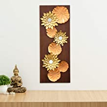 Home Centre Photomontage Textured Lotus Metal Wood Wall Art - Brown