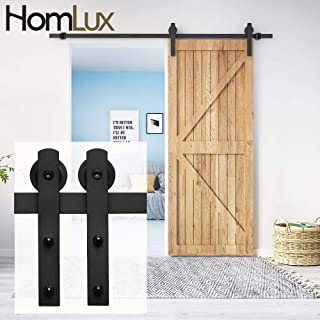 HomLux 5ft Heavy Duty Sturdy Sliding Barn Door Hardware Kit Single Rail - Smoothly and Quietly - Simple and Easy to Install - Fit 1 3/8-1 3/4